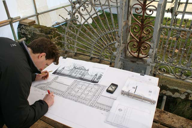 Recording general gate information onto a prepared drawing.
