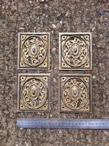 Reproduction 'Tijou' gates lock plates x 4 in brass copying exactly one surviving but damaged.