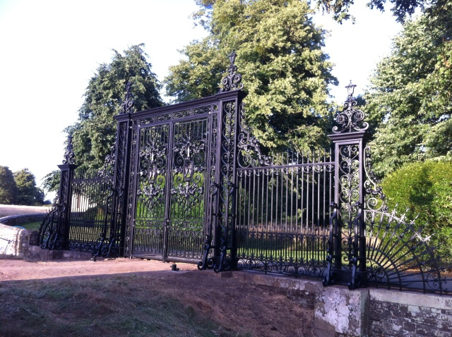 'Tijou' gates in the evening sun, nearly complete, just the overthrow to be installed.